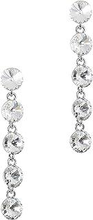 MOONSTONE Dazzling Multi Layered Round Swarovski Elements Dangle Sterling Silver Fashion Earrings For Women