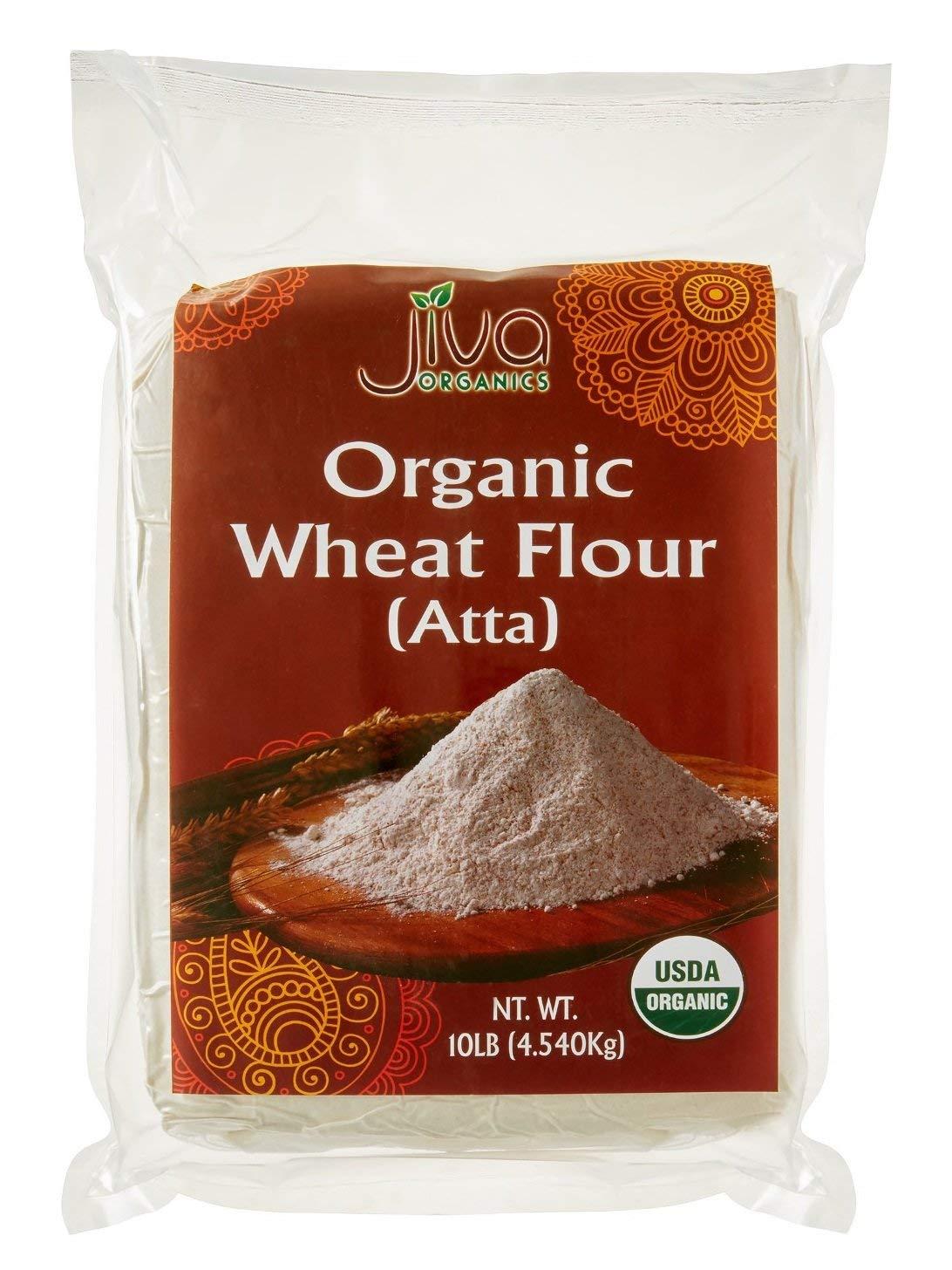 Jiva Organic Atta Whole Wheat Flour 10 Pound Bulk Bag - Non-GMO