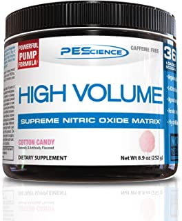 PEScience High Volume Nitric Oxide Booster Pre Workout Powder with L Arginine Nitrate, Cotton Candy, 36 Scoops, Caffeine Free