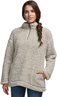 Dylan by True Grit Shearling Pile Drop Shoulder 1/4 Zip Pullover with Soft Knit Lining Putty MD