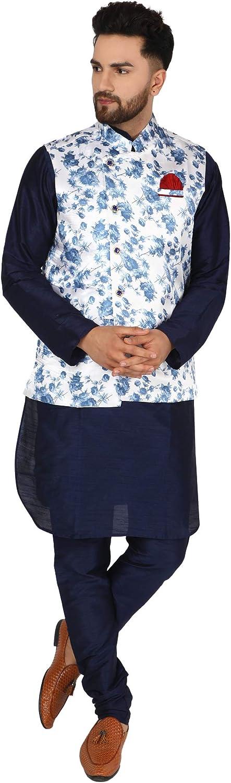SKAVIJ Men's Silk Blend Kurta Pajama and Nehru Jacket (Waistcoat) Traditional Suit Wedding Party Festive Season Dress Set