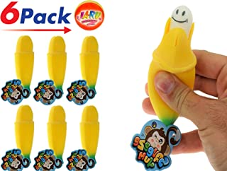 JA-RU Squeeze Pops Up Banana (Pack of 6) Kids Party Favor Supply Pinata Filler Toy. Plus 1 Collectable Bouncy Ball Squeesh it and Surprise. 3346-6p