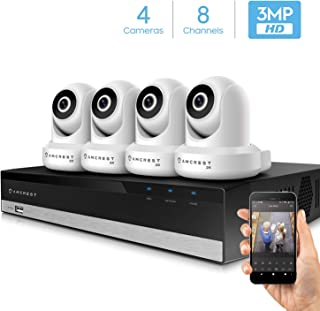 Amcrest 3MP Security Camera System w/ 4K 8CH NVR, (4) x 3-Megapixel Dome WiFi IP Cameras, Pan/Tilt Surveillance, Dualband 5ghz / 2.4ghz, Two-Way Audio, NV2108-IP3M-941W4 (White)