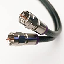 100ft SOLID COPPER SIAMESE DUAL RG6 COAXIAL 3Ghz UL CM CL2 rate IN-WALL INSTALLATION 75 Ohm Directv Dish Satellite Internet Cable HD Antenna BELDEN PURPLE COMPRESSION CONNECTORS by PHAT SATELLITE INTL