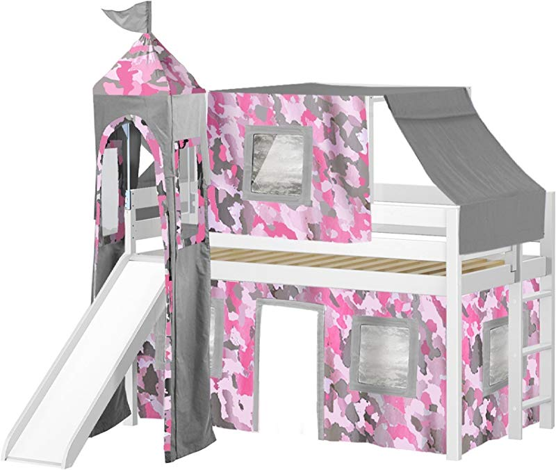 JACKPOT Princess Low Loft Bed With Slide Pink Camo Tent And Tower Loft Bed Twin White
