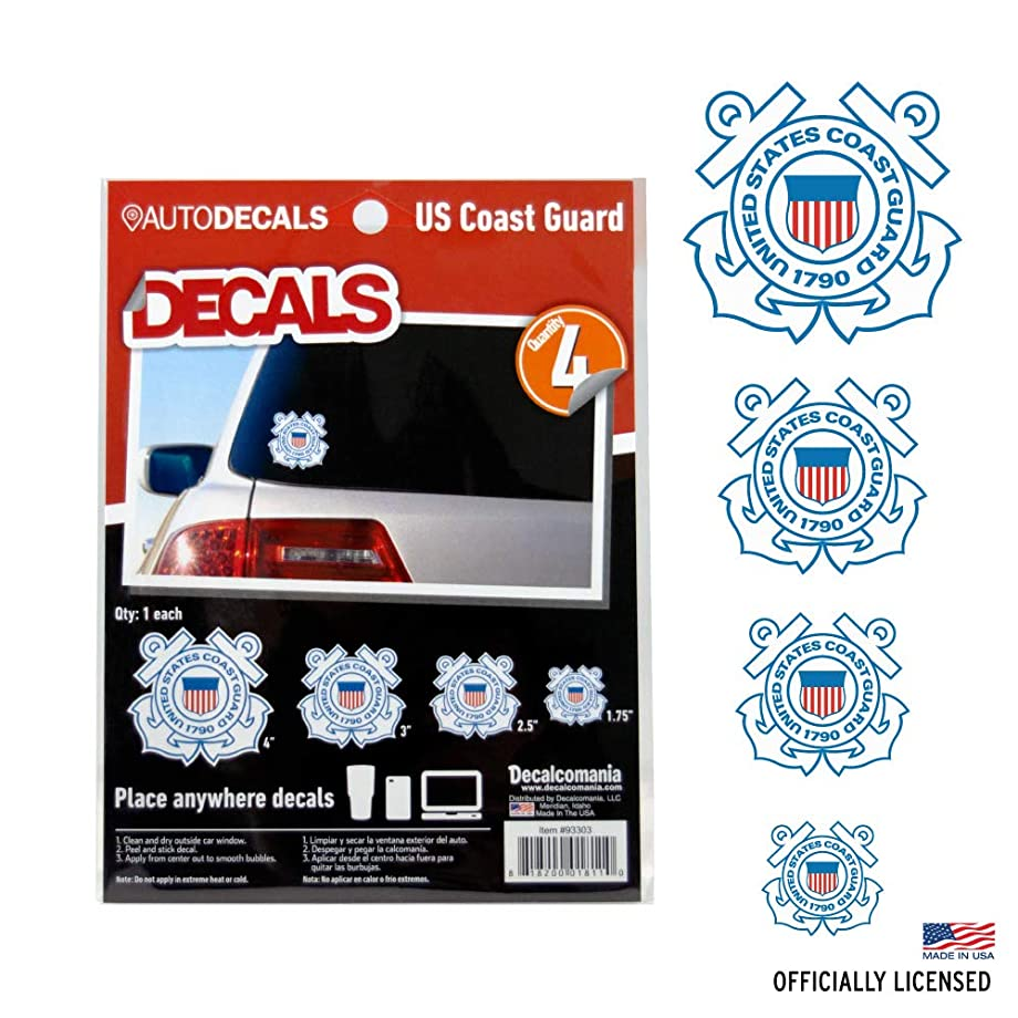 OFFICIALLY LICENSED U.S. COAST GUARD DECALS - 4 Piece US Military Stickers For Truck or Car Windows, Phones, Tablets & Laptops – Large Military Decals 1.75 to 4 Inches – Car Decals Military Collection
