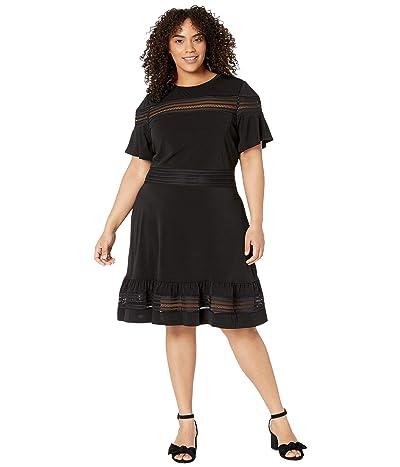 MICHAEL Michael Kors Plus Size Mesh Mix Short Sleeve Dress (Black) Women