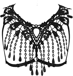 Lace Harness Body Cage Crop Top Bra Sheer Breast Bralette Tassel See Through Lingerie