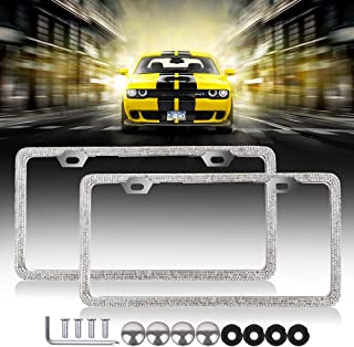 SCITOO License Plate Frame Car Licence Plate Covers Bling Bling 2 PCS 2 Holes with Bolts Washer Caps fit US Standard