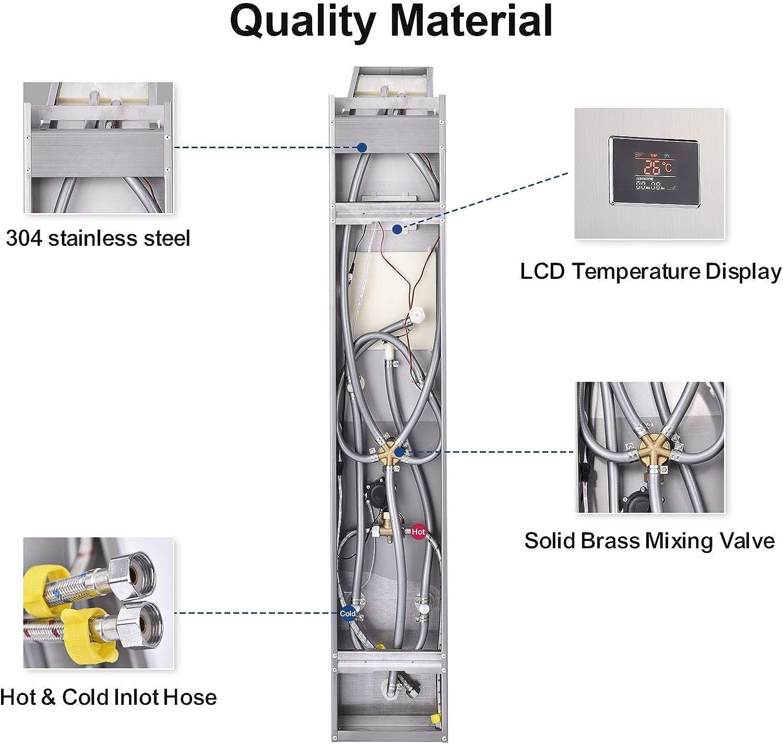 Peitten 45 Stainless Steel Shower Panel Shower Panel, 45 inch ...