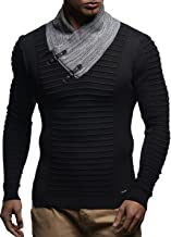 LEIF NELSON Men Sweater Knitted Pullover Hoodie Basic Shawl Collar Sweatshirt Long Sleeve Sweater Fine Knitted LN1620