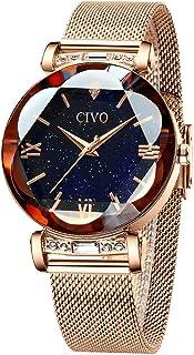 CIVO Orologio Donna Impermeabile Oro Rosa Orologio Polso Donna cinturino in maglia acciaio inossidabile Orologio da Polso ...