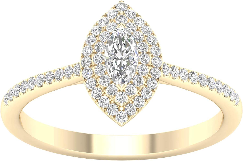 IGI Certified 1 3ct-1ct TDW Diamond DOUBLE 安全 SEAL限定商品 Marquise Engagem Halo