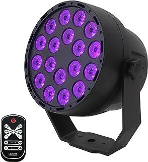 Luces Negras UV,Eleganted 7 Modos Luces De Etapa,3Wx18 LEDs Sonido Activado Luz Discoteca LED Lámpara de Escenario con Remoto Control para Fiestas Stage DJ Club Dsico Iluminación(UV)