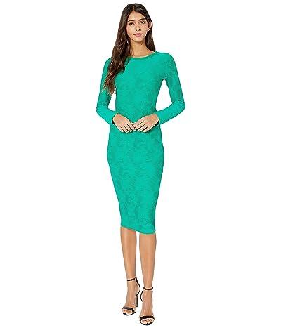 FUZZI Long Sleeve Knee Length Lace Dress (Biliardo) Women