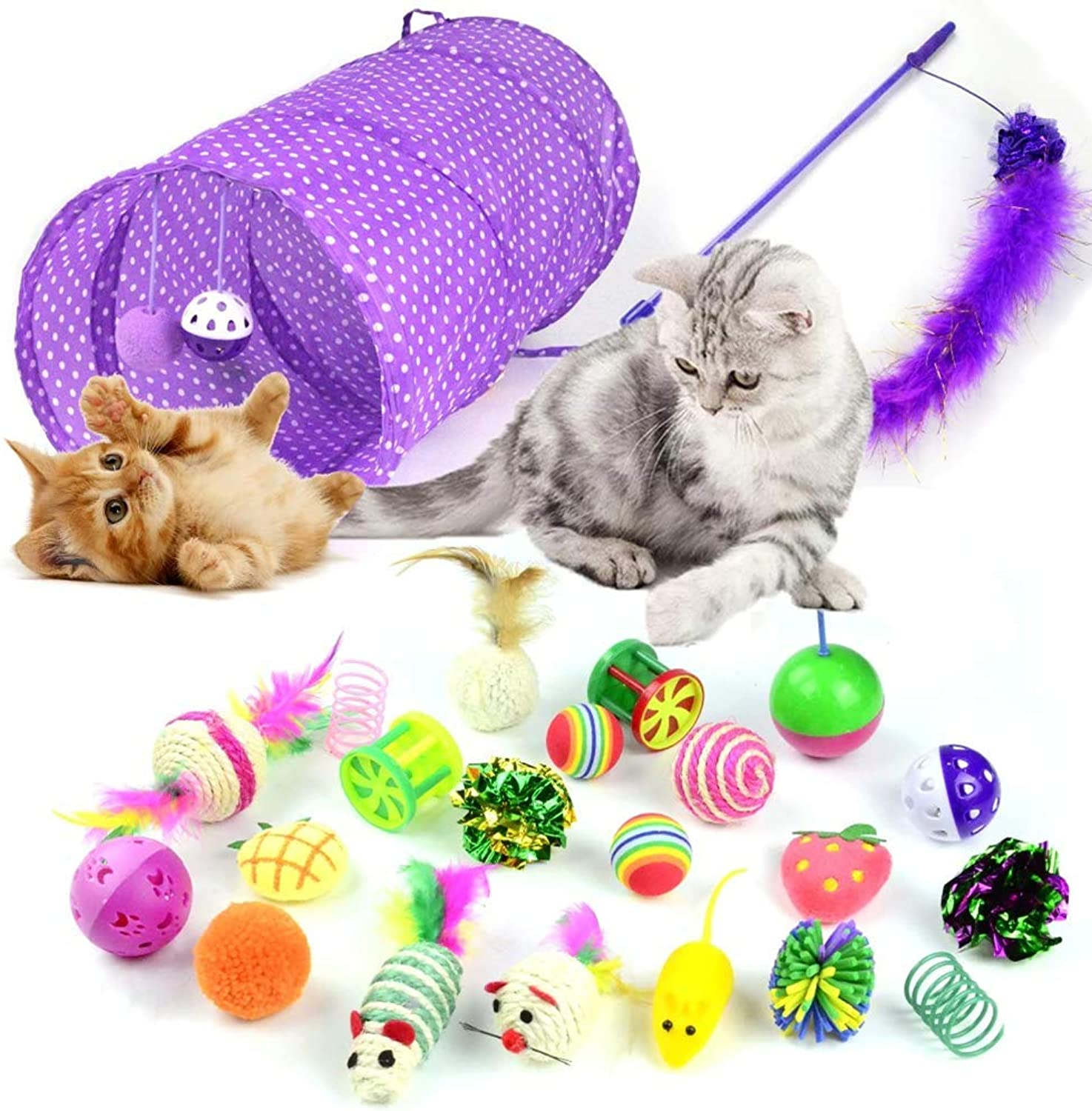 24PCS Cat Toys Cat Funny Stick Tunnel for Kitten Bells Interactive Cats Toy colorful Mouse Bell New Arrival Pet Products