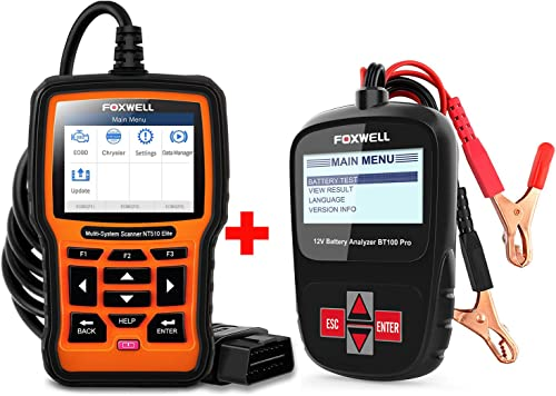 new arrival FOXWELL Car Battery Tester Analyzer BT100 Pro popular 12V outlet online sale Automotive 100-1100CCA Detect Health Faults with Foxwell Car Scanner NT510 for Chrysler online