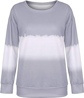 GUOCAI Women's Autumn Round Neck Tops Tie Dye Long Sleeve Blouse T Shirts