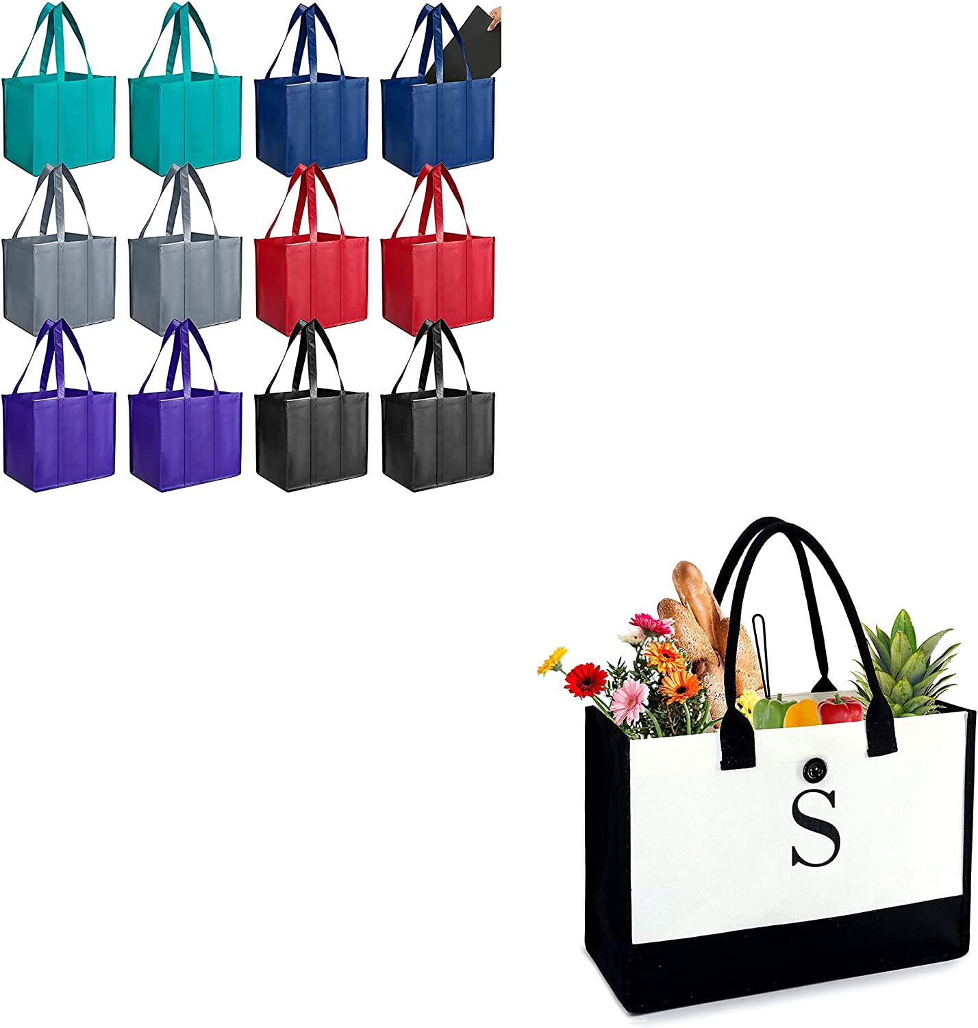 Product Image BeeGreen Fort Worth Mall Reusable Grocery Bags totes 12 Year-end gift Bluk Pack