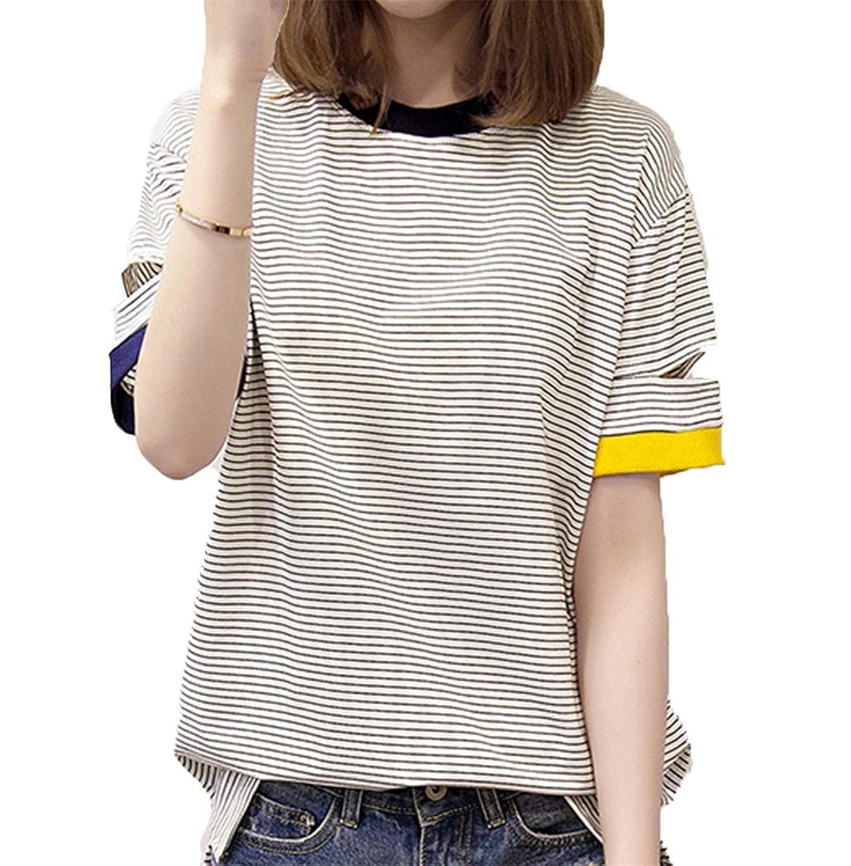 [美しいです]原宿カップルハーフストライプストライプヒットカラーシャツbfサマーラウンド襟カラー半袖Tシャツ女性ルーズ