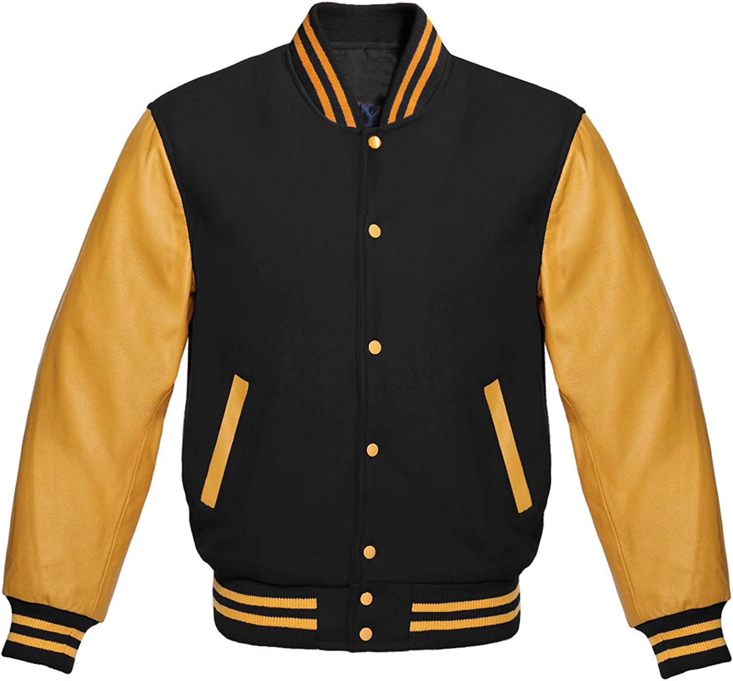 CHICAGO-FASHIONS Mens Letterman Varsity Jacket - Wool and Faux Leather City School College Bomber Jacket Collection
