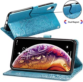 Compatible with iPhone Xs MAX 6.5 Wallet Case,Mandala Flower Floral Embossed Luxury PU Leather with Credit Card Holder Slot Magnetic Closure Shockproof Protective Flip Case -Blue