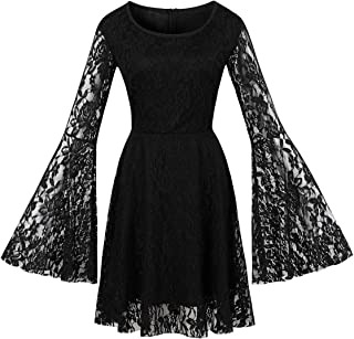 Wellwits Women's Flare Sleeves Lace Witchy Gothic 40s 50s Retro Vintage Dress