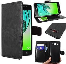 ebestStar - Coque Compatible avec Samsung J3 2016 Galaxy SM-J320F Etui PU Cuir Housse Portefeuille Porte-Cartes Support Stand, Noir [Appareil: 142.3 x 71 x 7.9mm, 5.0'']