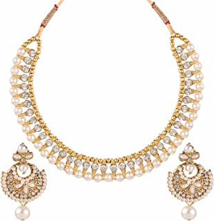 Handcrafted Simulated Pearl Beaded Classic Round Chunky Collar Strand Necklace Set Costume Fashion Accessories for Women and Girls