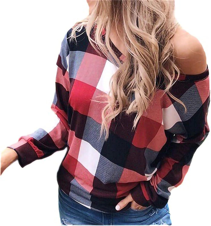 Womens Long Sleeve Tops, Women's Casual Long Sleeve Plaid Shirt Plaid Print Long Sleeve O-Neck Tops