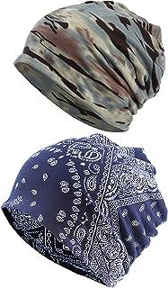 Women Beanie Chemo Hat - Scarf Cap Headwear Turban Cancer Hats, 2 PCS