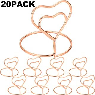 Chuangdi 20 Pieces Wire Place Card Holder Metal Card Holder Stand Wedding Name Place Holder for Weddings, Dinner Parties, Food Signs (Style 3, Rose Gold Color)