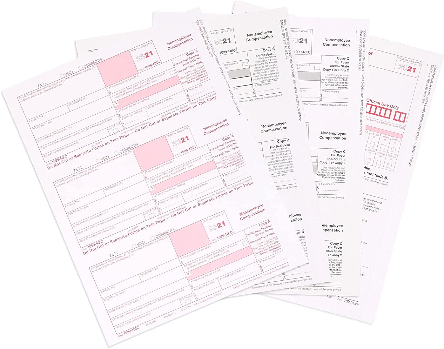 Blue Summit Selling rankings depot Supplies 1099 NEC Tax 2021 50 Forms 5 Part Form