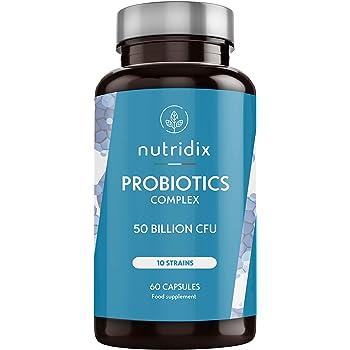 Probiotici 50 miliardi di CFU per dose - 10 ceppi naturali per la flora e le difese intestinali - 60 capsule Nutridix