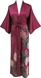 Women's Silk Satin Kimono Long Robe - Classic Floral Bathrobe Nightgown