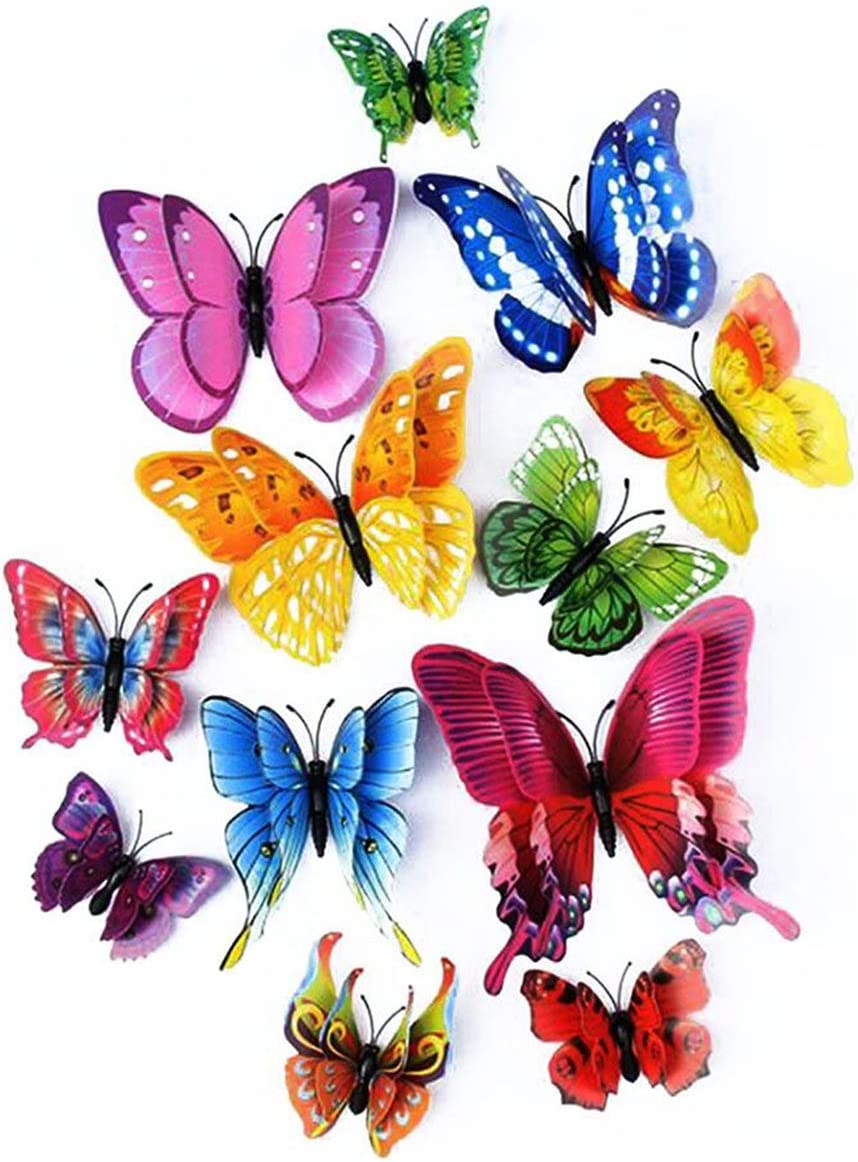 LERT 3D Mariposa Engomadas de doble alas, Hogar Pared Decoración, Mariposa de Artesanal, Adhesivo de Pared de Mariposa, 12 Piezas (Color mezclado)