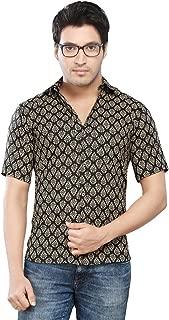 Vastra Vinod Black and Beige Cotton Readymade Shirt