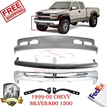 Front Bumper Kit Cap Valance for 1999-2002 Chevrolet Chevy Silverado 1500 with Bumper Bracket Lh & Rh Side W/Fog Light and Tow Hook Holes Set of 5 GM1002376 GM1051103 GM1066129 GM1067129 GM1092167