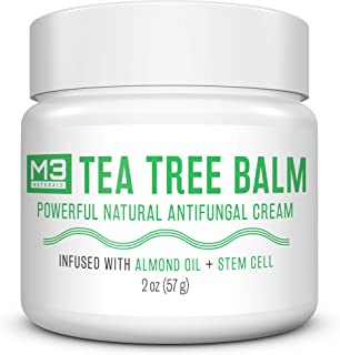 M3 Naturals Tea Tree Balm Infused with Stem Cell and Almond Oil Powerful Natural Antifungal Cream for Athletes Foot Jock Itch Fungus Body Acne Burning Stinging Skin Irritation 2 oz