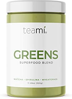 Teami® Greens Veggie Superfood Powder - 30 Servings - 16 Superfoods Including Spirulina, Wheatgrass, Chlorella, Garcinia Cambogia, Acai, and Kale