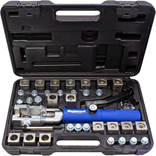 """MASTERCOOL 72485-PRC Universal Hydraulic Flaring Tool Set (Includes 3/8"""" and 1/2"""" Transmission Cooling Line Die and Adapter Sets) with Tube Cutter, Silver/Blue"""