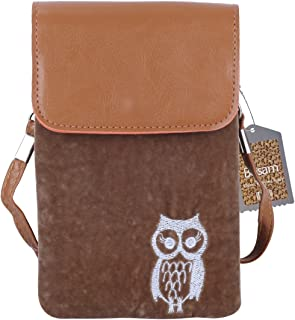 Bosam Winter Purse Series Owl Pattern Cute Crossbody Cell Phone Bags for Woman with Shoulder Strap (Brown)