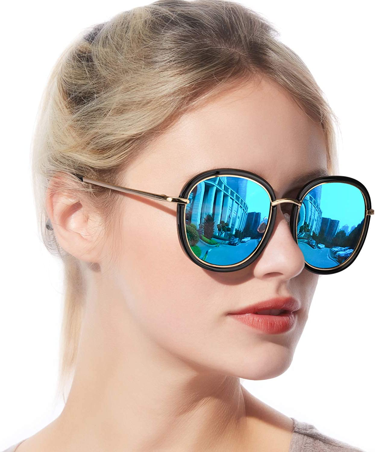 Enafad Womens Oversized Round Polarized Sunglasses, Fashion Vintage Polarized Eyewear for Driving Fishing  UV400 Predection