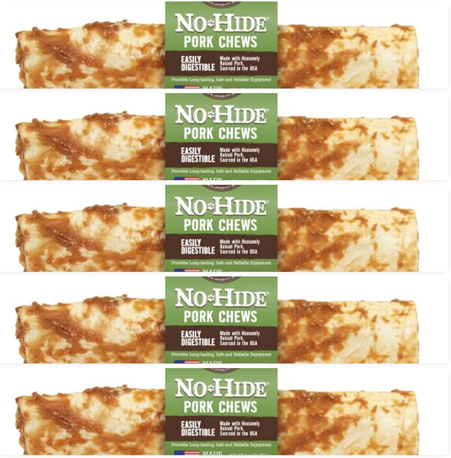 Earth Animal 5 Pack of NoHide Pork Chews, 7 Inch, Rawhide Alternative for Dogs
