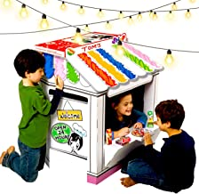 UC Global Trade Inc Shop Playhouse for Creative Coloring – Cardboard House for Kids and Additional Sticker Decorations