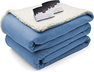 Biddeford Comfort Knit Fleece Sherpa Electric Heated Blanket King Denim