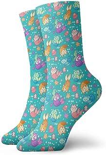 Calcetines casuales de gato Sirenas de gato Teal Calcetines de tobillo Vestido corto Calcetines de compresión para mujeres Hombres
