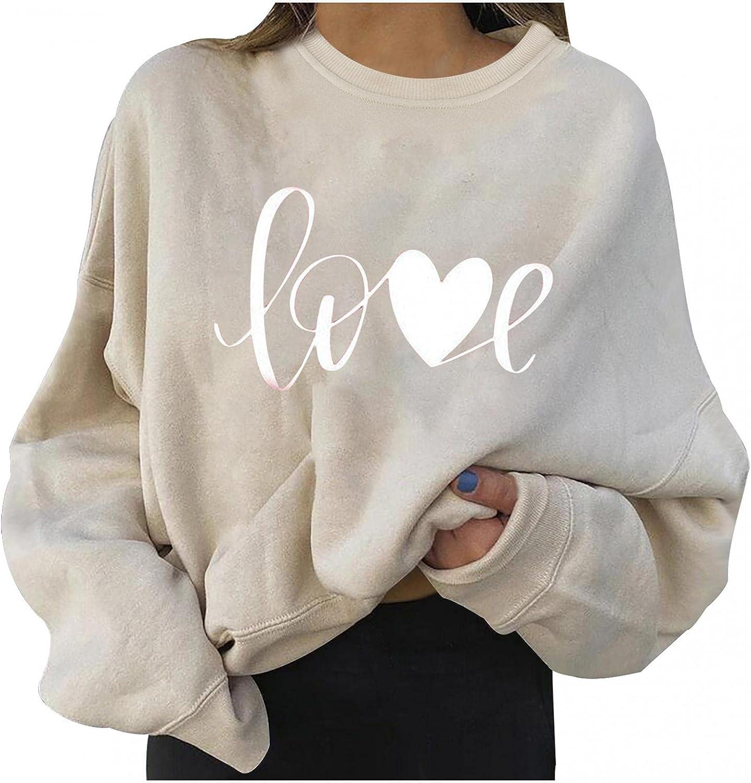 Print Sweatshirts for Women Cute Love Print Halloween Sweatshirts Long Sleeve Hooded Pullover Tops Lightweight