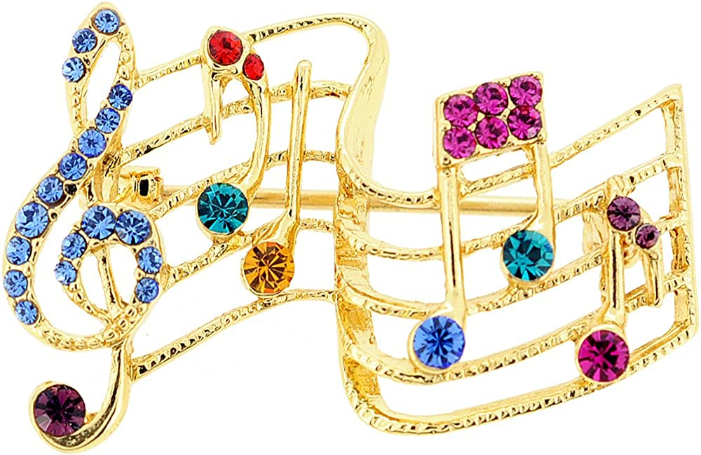 Fantasyard Multicolor Music Note Crystal Pin Brooch