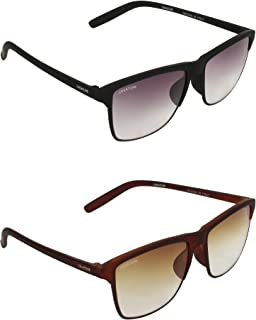 Creature Black and Brown Matt Finish Unisex Sunglasses Combo with UV Protection (Lens-Purple & Brown||Frame-Black/Brown||Doit-001-002)
